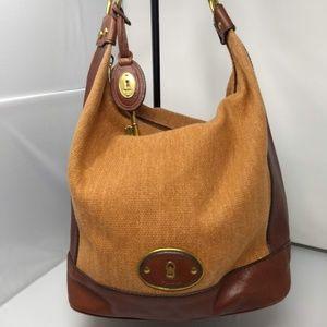 FOSSIL LEATHER/CLOTH HOBO SHOULDER BAG